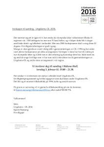 Ungdoms OL på Lillehammer inviterer til samling for -94 gjengen.