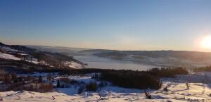 Utsikt mot Mjøsbrua fra Biskopåsen